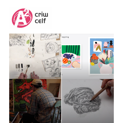 Criw Celf logo at top of image with a composite of 4 squares showcasing paintings, drawings and sketches.